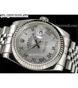 Rolex Datejust 36mm Swiss Automatic Watch-Grey Sunburst Dial Roman Numeral Hours-Stainless Steel Jubilee Bracelet