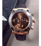 Rolex Daytona Swiss Chronograph -Brown Dial 3 Functional Sub Dial-Black Leather Strap