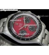 Rolex Daytona Paul Newman Chronograph-Red Dial Black Subdials-Black Bezel-Stainless Steel Oyster Bracelet