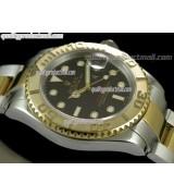 Rolex Yachtmaster II Bi Tone Swiss ETA-Black Dial White Dot Markers-Stainless Steel Oyster Bracelet
