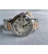 Cartier Ballon Bleu Silver Swiss ETA2824 Automatic Man Watch W69009Z3 Rose Gold