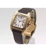 Cartier Santos Women Watch Automatic-White Dial Brown Leather Strap