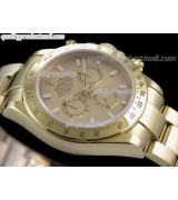 Rolex Daytona Swiss 18K Gold Chronograph-Gold Dial Gold Ring Subdials-Stainless Steel Oyster Bracelet
