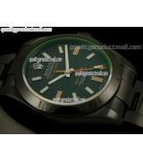 Rolex Milgauss ETA Pro Hunter Swiss Watch-Black Dial Index Hour Markers-Black PVD Coated Stainless Steel Bracelet