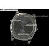 Rolex Cellini Swiss Quartz Watch-Silver Dial Droplet Hour Markers-Black Leather strap