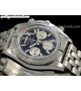 Breitling Chronomat B01 Ultimate 316F Chronograph-Black Grey Dial Silver Subdials Index Hour Markers-Stainless Steel Bracelet