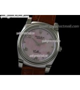 Rolex Cellini Swiss Quartz Watch-MOP Pink Dial Droplet Hour Markers-Brown Leather strap