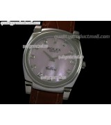 Rolex Cellini Swiss Quartz Watch-MOP Pink Dial Diamond Hour Markers-Brown Leather strap