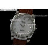 Rolex Cellini Swiss Quartz Watch-MOP White Dial Diamond Hour Markers-Brown Leather strap
