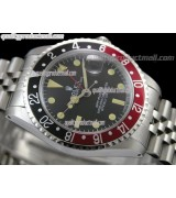 Rolex GMT II Swiss ETA Automatic Watch-Vintage Black Dial Black/Red Bezel-Stainless Steel Jubilee Bracelet