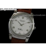 Rolex Cellini Swiss Quartz Watch-White Dial Droplet Hour Markers-Brown Leather strap