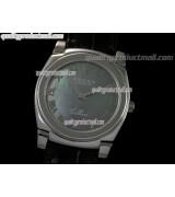 Rolex Cellini Swiss Quartz Watch-MOP Black Dial Roman Numeral Hour Markers-Black Leather strap