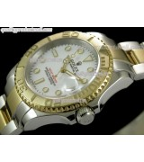 Rolex Yachtmaster II Bi Tone Swiss ETA-White Dial White Dot Markers-Gold Plated Stainless Steel Oyster Strap