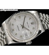 Rolex Datejust Swiss Automatic Watch-Grey Jubilee Dial Diamond Hour Markers-Stainless Steel Jubilee Bracelet