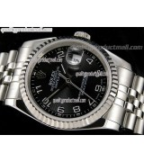 Rolex Datejust 36mm Swiss Automatic Watch-Black Circular Pattern Dial Numeral Hour Markers-Stainless Steel Jubilee Bracelet