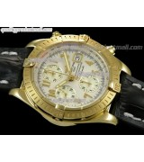 Breitling Chronomat Evolution V3 Chronograph 18K Gold-White Dial Gold Subdials Numeral Hour Markers-Black Leather Bracelet