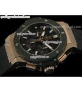 Hublot Big Bang V2 Chronograph 18K Rose Gold-Carbon Fibre Black Dial Black Subdials-Black Rubber Strap