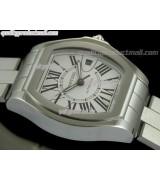 Cartier Roadster XXL Swiss Automatic Watch-White dial Black Roman Markers-Stainless Steel Bracelet