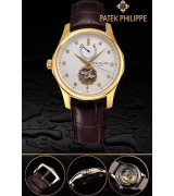 Patek Philippe 2015 Basel Complication Automatic Watch-Diamonds Markers White Dial-Brown Leather Strap