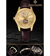 Patek Philippe 2015 Basel Complication Automatic Watch-Diamonds Markers Golden Dial-Brown Leather Strap