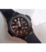 Hublot Big Bang All Black Magic Limited Edition Chronograph-Black Carbon Dial Silver Hour Markers-Black Rubber Strap