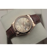 Rolex Datejust 36mm Swiss Automatic Watch Rose Gold-Golden Dial Stick Markers-Brown Leather Bracelet