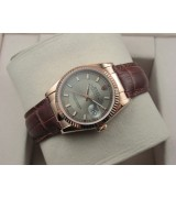 Rolex Datejust 36mm Swiss Automatic Watch Rose Gold-Silvery Dial Stick Markers-Brown Leather Bracelet