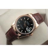 Rolex Datejust 36mm Swiss Automatic Watch Rose Gold-Black Dial Stick Markers-Brown Leather Bracelet