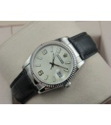 Rolex Datejust 36mm Swiss Automatic Watch-White Dial Stick Markers-Black Leather Bracelet