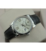 Rolex Datejust 36mm Swiss Automatic Watch-White Dial Diamond Stick Markers-Black Leather Bracelet