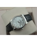 Rolex Datejust 36mm Swiss Automatic Watch-Silvery Dial Stick Markers-Black Leather Bracelet