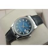 Rolex Datejust 36mm Swiss Automatic Watch-Blue Dial Stick Markers-Black Leather Bracelet