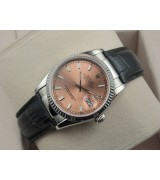 Rolex Datejust 36mm Swiss Automatic Watch-Pink Dial Stick Markers-Black Leather Bracelet