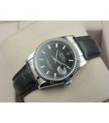 Rolex Datejust 36mm Swiss Automatic Watch-Black Dial Stick Markers-Black Leather Bracelet