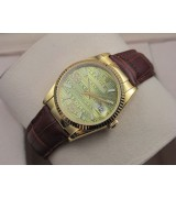 Rolex Datejust 36mm Swiss Automatic Watch 18K Gold-Golden Dial Diamond Stick Markers-Brown Leather Bracelet
