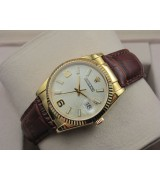 Rolex Datejust 36mm Swiss Automatic18K Gold-White Dial Stick Markers-Brown Leather Bracelet