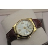 Rolex Datejust 36mm Swiss Automatic Watch 18K Gold-White Dial Diamond Stick Markers-Brown Leather Bracelet