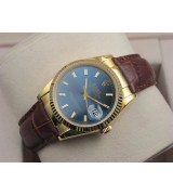 Rolex Datejust 36mm Swiss Automatic Watch 18K Gold-Blue Dial Stick Markers-Brown Leather Bracelet