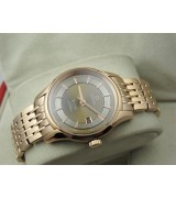 Omega De Ville Automatic Watch Rose Gold-Concentric Circle Dial-Stainless Steel Strap