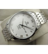 Omega De Ville Automatic Watch-White Dial With Roman Numeral Marker-Stainless Steel Strap