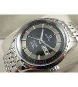 Omega De Ville Automatic Watch - Black Dial With Stick Marker - Stainless Steel Strap