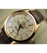 Omega Sea-Master GMT Edition Automatic Watch-Rose Gold-Vertical Stripes White Dial-Genuine Leather Brown Strap