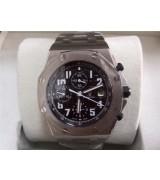 Audemars Piguet Royal Oak Chronograph-Black Checkered Dial Numeral Hour Markers-Stainless Steel Bracelet