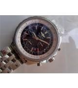 Breitling Bentley 30S Chronograph-Black Dial Black Subdials-Stainless Steel bracelet