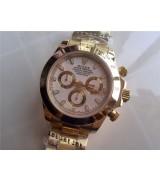 Rolex Daytona Swiss 18K Gold Chronograph-White Dial, Gold Ring Subdials-Stainless Steel Oyster Bracelet