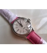 Rolex Cellini Swiss eta 2824 Automatic Women Watch-White Dial Pink Leather Bracelet
