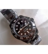 Rolex GMT II Pro Hunter Swiss Automatic Watch-Black PVD Coated Oyster Stainless Steel Bracelet