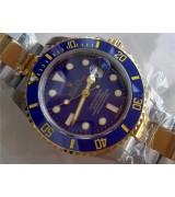 Rolex Submariner Automatic Watch Blue Dial Bi Tone Bracelet