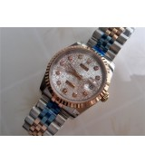 Rolex Oyster Perpetual E697 Automatic 18k Rose Gold- White Arabesquitic Dial Diamond Markers-Stainless Steel Strap