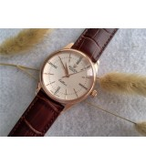 Rolex Cellini Time 50505 Swiss Automatic Watch Rose Gold Brown leather strap